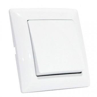 Выключатель 1-клавишный белый TINA