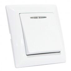 Выключатель 1-клавишный с подсветкой белый TINA