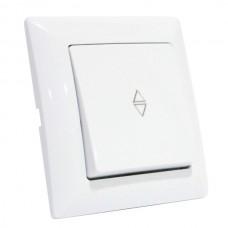 Выключатель проходной 1-клавишный белый TINA
