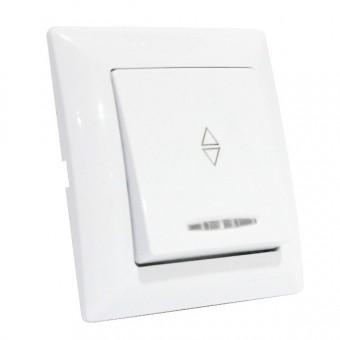 Выключатель проходной 1-клавишный с подсветкой белый TINA