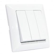 Выключатель 3-клавишный белый TINA