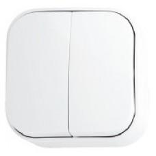 Выключатель 2-клавишный белый EVA