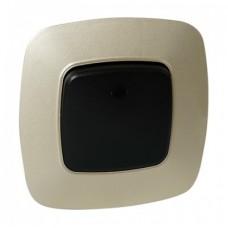 Выключатель 1-клавишный черный-золото с подсветкой ELA