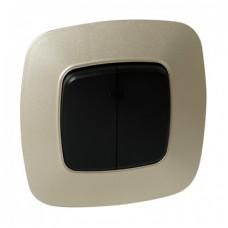 Выключатель 2-клавишный черный-золото ELA