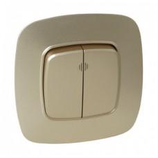 Выключатель 2-клавишный золото с подсветкой ELA