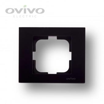 Одинарная рамка GRANO черный металик