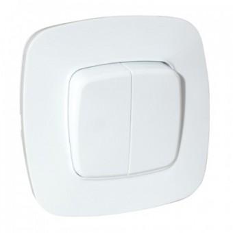 Выключатель 2-клавишный белый ELA