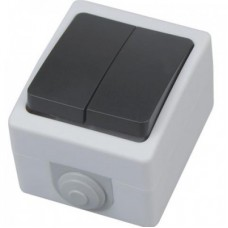 Выключатель накладной 2-клавишный АТОМ