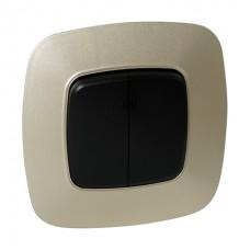 Выключатель 2-клавишный с подсветкой черный-золото ELA
