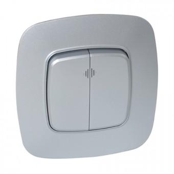 Выключатель 2-клавишный с подсветкой серебро ELA