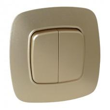 Выключатель 2-клавишный золото ELA