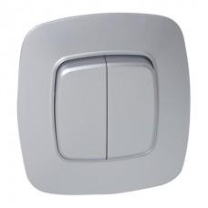 Выключатель 2-клавишный серебро ELA