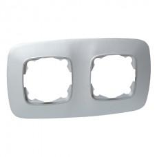 Рамка 2-ная  серебро ELA
