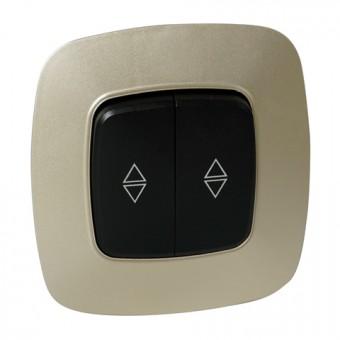 Выключатель проходной 2-клавишный черный-золото ELA