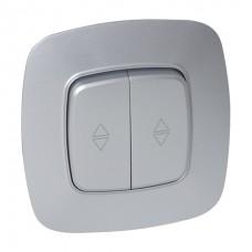 Выключатель проходной 2-клавишный серебро ELA