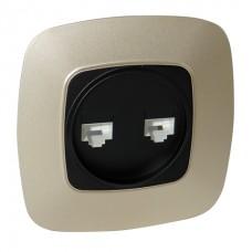 Розетка двойная компьютерная черный-золото ELA
