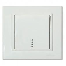 Выключатель 1-клавишный с подсветкой белый MINA