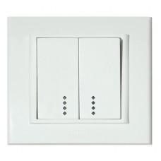 Выключатель 2-клавишный с подсветкой белый MINA