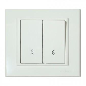 Выключатель проходной 2-клавишный белый MINA